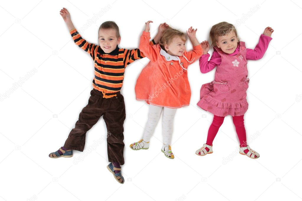 Three children lying top view 3  Stock Photo #7439732