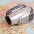 Video camcorder on map of europe — Stock Photo