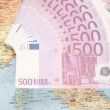 Much money on map of europe — Stock Photo