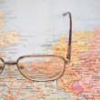 Glasses on map of europe — Foto Stock