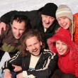 Friends on winter snow - Stock Photo