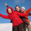 Group of friends move by hands in winter on hillside — Stock Photo