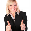 Middleaged woman gives gesture 3 two finger ok — Stock Photo