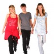Royalty-Free Stock Photo: Boy and two girls steps forward