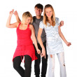 Boy and two girls dancing — Stock Photo