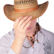 Boy hide gace with hat — Stock Photo #7442141