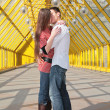 Stock Photo: Young pair kisses on footbridge