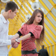 Stock Photo: Young couple with handcuffs