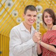 Stock Photo: Young couple on footbridge