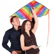 Young pair with kite — Stock Photo #7443665
