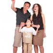 Father pointed something at top of mother and son — Stock Photo