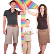 Royalty-Free Stock Photo: Parents, son and color kite