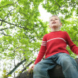 Foto Stock: Boy sits on tree