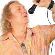 Mature man with microphone — Stock Photo
