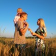 Mother and father with child on shoulders on wheaten field — Stock Photo