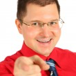 Businessman in red shirt pointed — Stock Photo #7446489