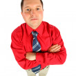 Businessman in red shirt with his hands crossed, top view — Stock Photo #7446550
