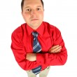 Businessman in red shirt with his hands crossed, top view — Stock Photo
