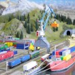 Model of port with railway — Stock Photo