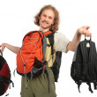 Man with backpacks — Stock Photo