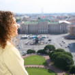 Girl looks on St.Petersburg — Stock Photo #7447331