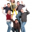 Group of friends on step-ladder - Stock Photo