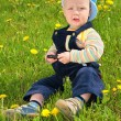 Stock fotografie: Child sits on grass