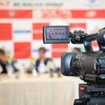 Videocamera opposite to jury — Stock Photo