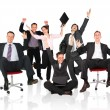 Stock Photo: Happy business team chair