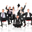 Foto Stock: Happy business team chair