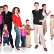 Many family with children group isolated — Stock Photo