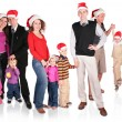Many christmas family with children group isolated — Stock Photo