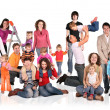 Many families with children group isolated collage — Stock Photo #7448339
