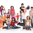 Many families with children group isolated collage — Stock Photo