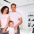 Division of store with foot-wear and belts — Stock Photo