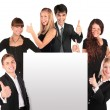 Stock Photo: Business group with ok gesture and paper for text