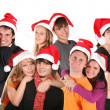 Christmas many couples group — Stock Photo