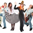 Stock Photo: Dancing group isolated
