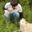 Fellow caresses by hand dog in  grass - Stock Photo