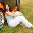 Woman &amp; car - Stock Photo
