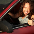 Woman in the red car — Stock Photo