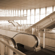 Escalators in glass hall - Stockfoto