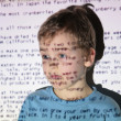 Stock Photo: Boy text projection device