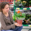 Young woman holds pot with flower in shop — Stock fotografie