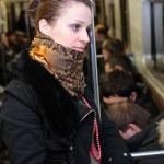 Girl in wagon of metro — Stock Photo
