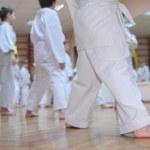 Karate boys in sport hall — Stock Photo