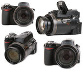 Modern photo digital camera four view — Stock Photo