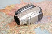 Videocamera sulla mappa d'europa — Foto Stock