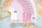 Avrupa harita üzerinde çok para — Stok fotoğraf