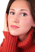 Portrait of girl in red sweater — Stock Photo